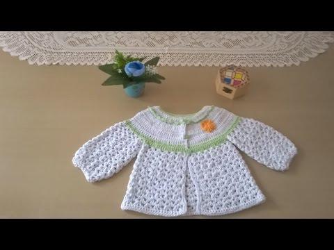 Chaqueta en hilo para bebé - YouTube
