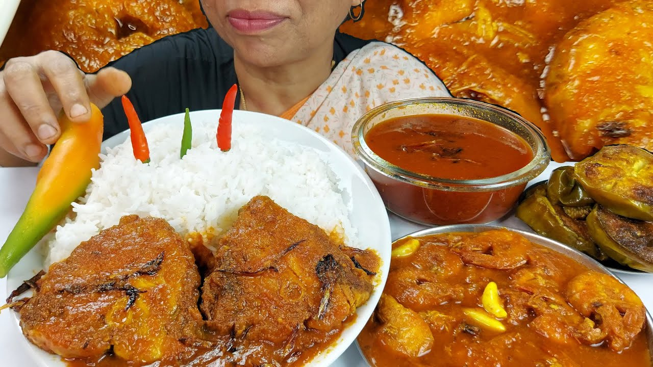 Shrimp and Big Fish Spicy Curry Mukbang Food Eating Show