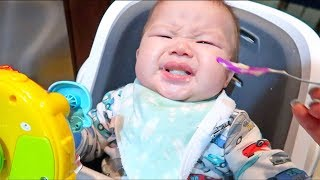 Baby Reacts First Time Eating Solid Food