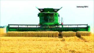 John Deere Mähdrescher S685i mit Raupe, 640D 12,34 m SW, biggest combine harvester - wheat harvest