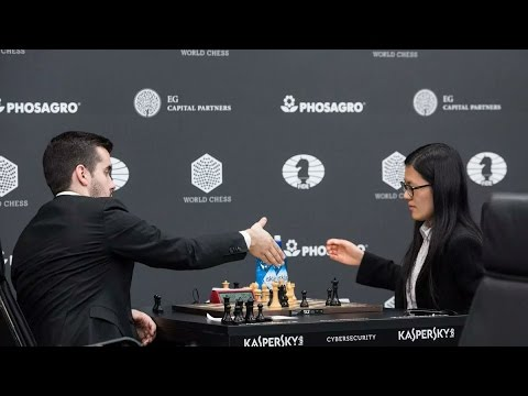 Hou,Yifan beats Nepomniachtchi, Ian with black in Moscow Grand Prix 2017(Full Game:Round 1)