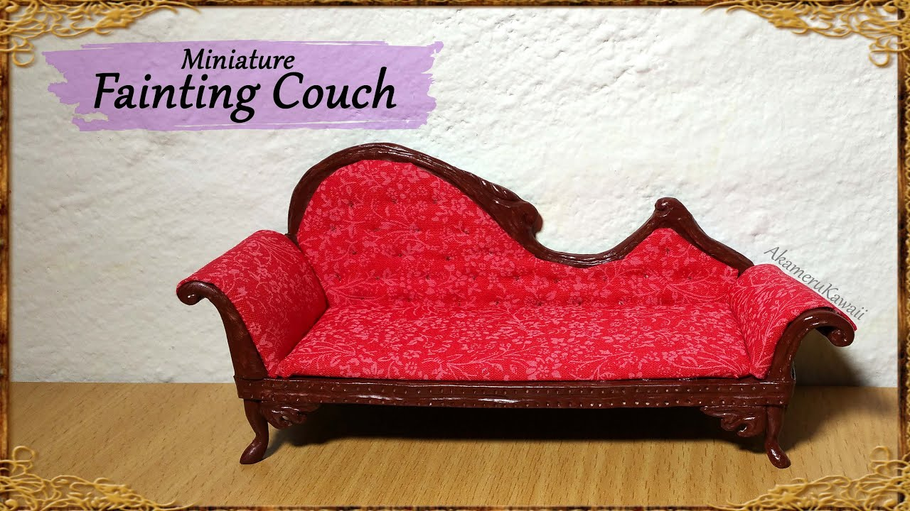 Miniature Doll Fainting Couch Polymer Clay Fabric Tutorial