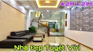 Nhà bán Gò Vấp   4.2m x 21m Nhà đẹp tuyệt vời với thiết kế 4 lầu nội thất sang trọng hẻm vào 8m