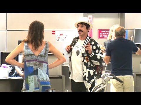 Anthony Kiedis Dons Polka Dots Before Taking Flight With Son Everly Bear