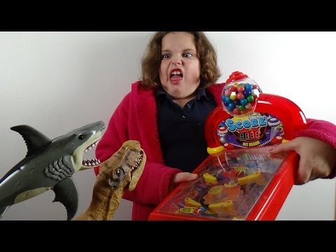 "Thumbnail: Pinball Gumball Machine ""Feeding Sharks & Dinosaurs"" Double Bubble Gum"