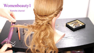 Easy prom hairstyle for long hair.  Romantic bridal hair tutorial