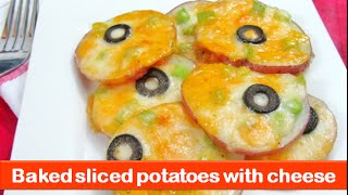 Oven Baked Sliced Potatoes With Cheese Recipe/easy Veg Evening Snacks & Kids Recipes-let's Be Foodie