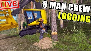 LOGGING LIVESTREAM | PLAYING WITH SUBSCRIBERS | 8 MAN CREW | LIVESTREAM