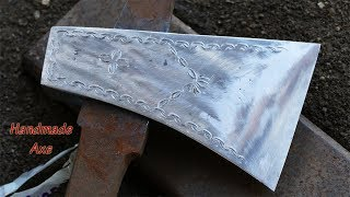 Blacksmithing: Making A Beautiful Stylist Axe From A Truck Round Bar/ Making And Decorating An Axe