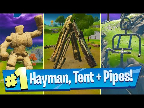 Dance At The Pipeman, The Hayman, And The Timber Tent Location - Fortnite Battle Royale
