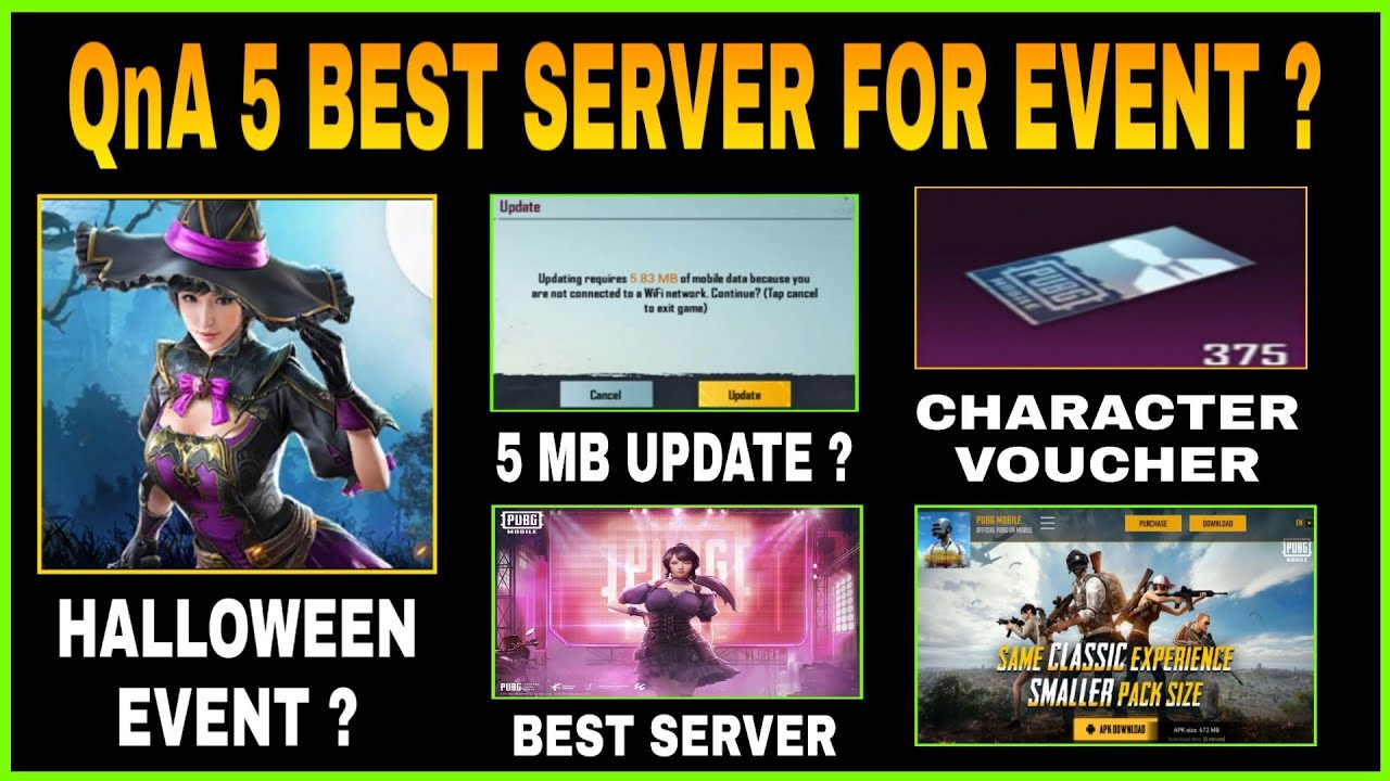 PUBG BEST SERVER FOR EVENT, 5 MB UPDATE, HALLOWEEN EVENTS & 1.0 OFFICIAL UPDATE LINK || QnA PART 5
