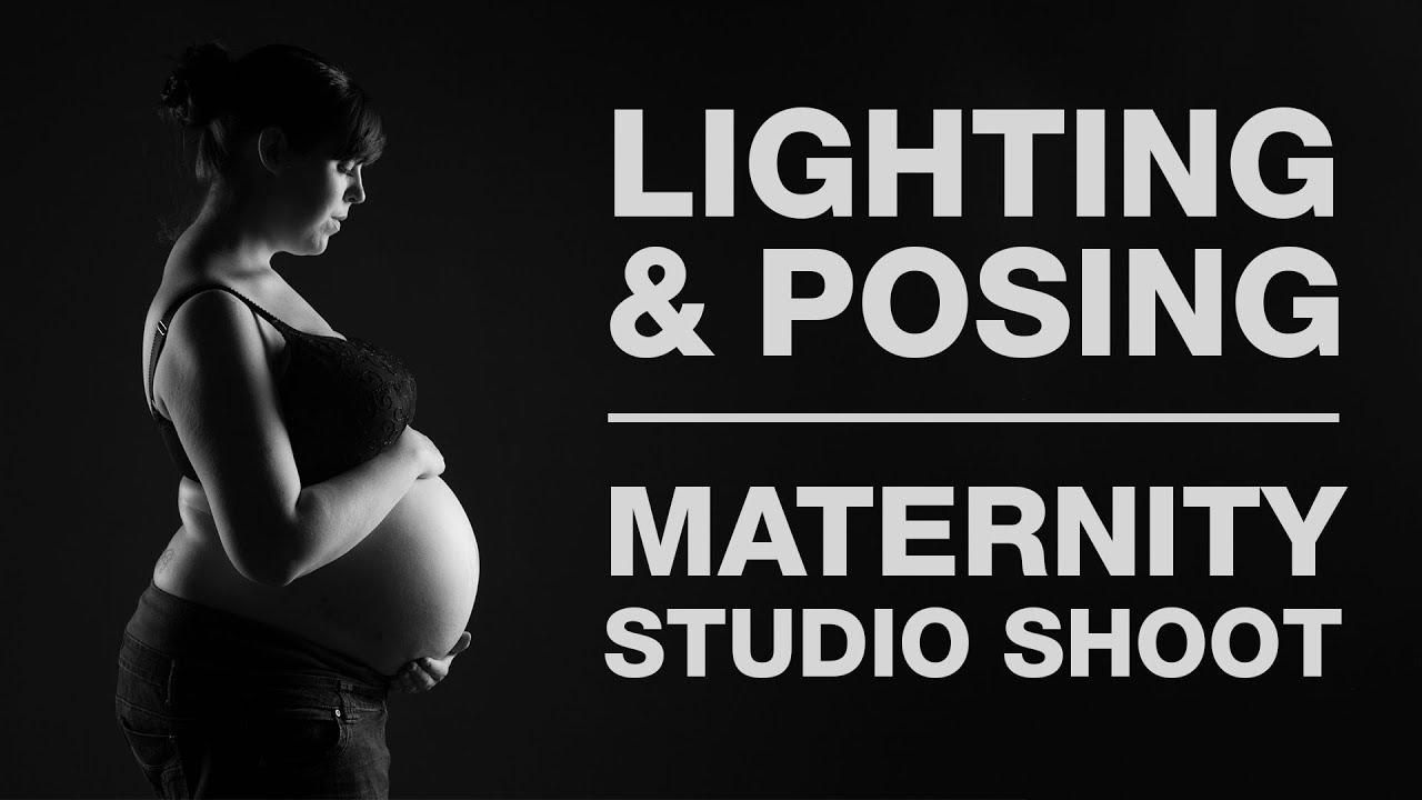 Lighting posing maternity shoot in the studio
