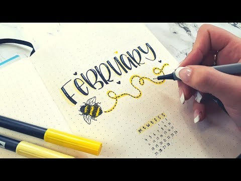 February Bullet Journal Setup - With Valentine's Challenge