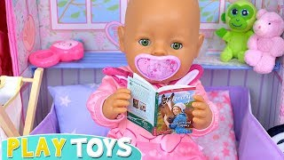 Baby Born Doll Bath and Evening Routine in Pink Bedroom!