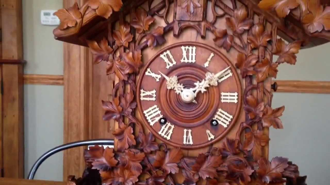 Extremely Rare Musical Beha Shelf Cuckoo Clock Tune Music Box C Fruit Wood