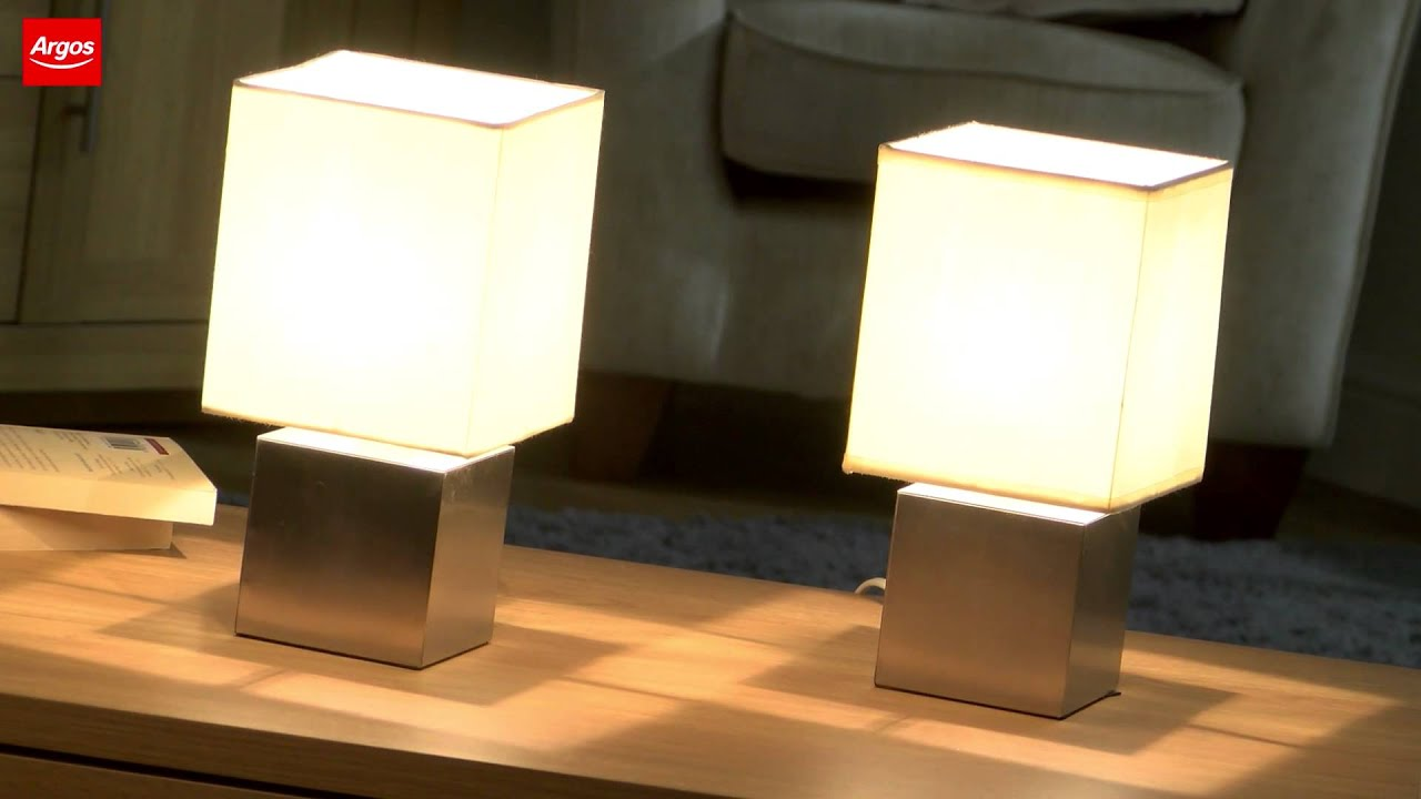 Buy Pair Of Cube Touch Table Lamps Cream   YouTube