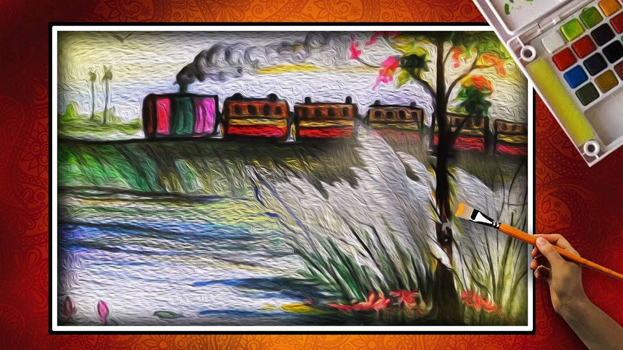 Painting canvas how to draw riverside village scenery autumn season with kash phool train steam engine
