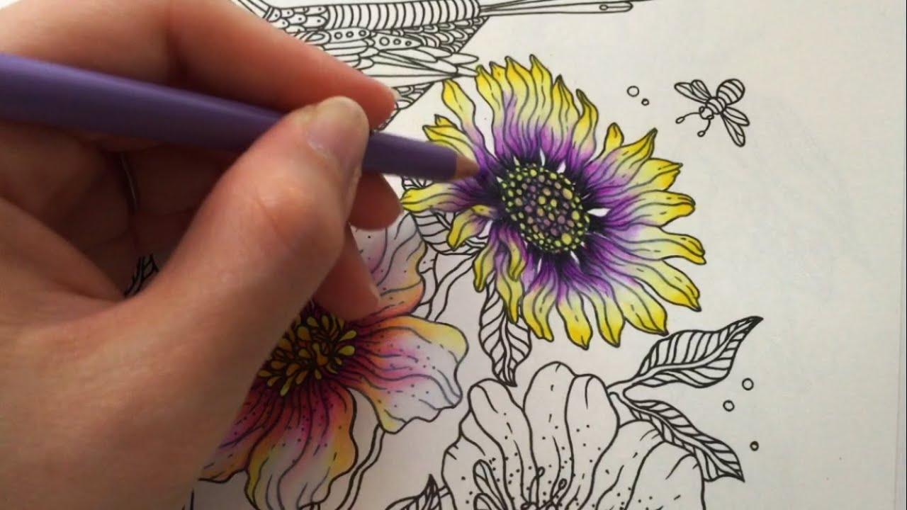 spring flower 25 daydreams coloring book coloring with colored pencils youtube