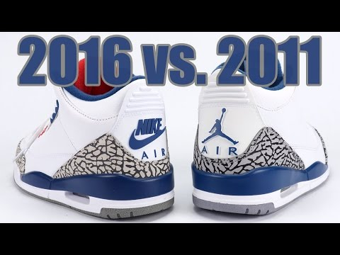 2016 vs 2011 Air Jordan 3 True Blue Comparison