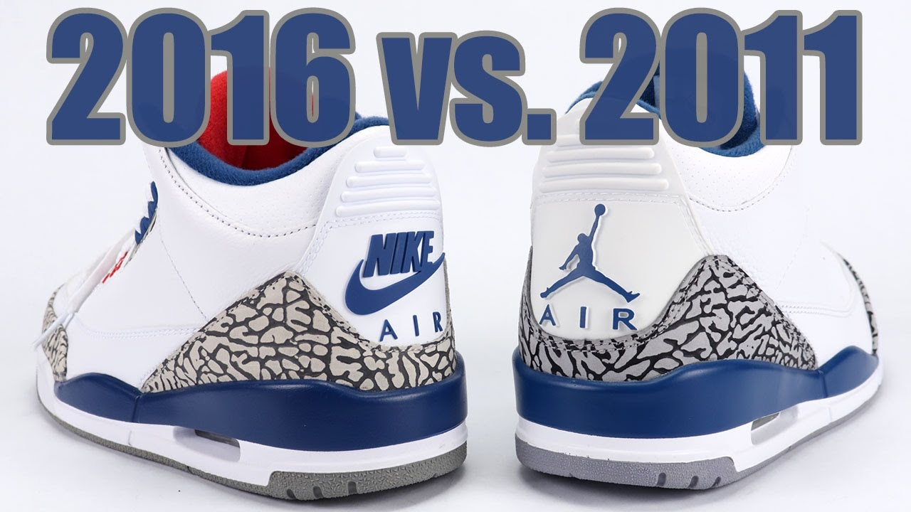 new arrival f9408 266bb 2016 vs 2011 Air Jordan 3 True Blue Comparison - YouTube