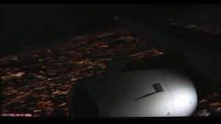 FSX Night landing at KSEA 16L A319 wing view