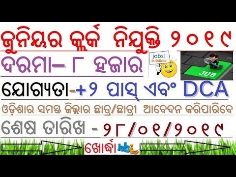 JUNIOR CLERK Recruitment 2019- KHORDHA // Vacancy for all Odisha // LIF -Odisha