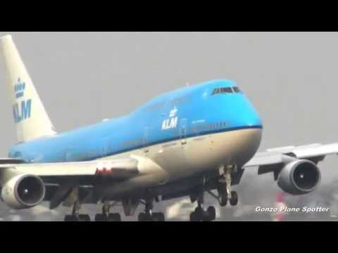 KLM 747 400 Namé City Of Freetown  Landing Schiphol Airport Amsterdam EH@M.