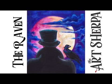 How to paint with Acrylic on Canvas Raven and Full moon Live stream