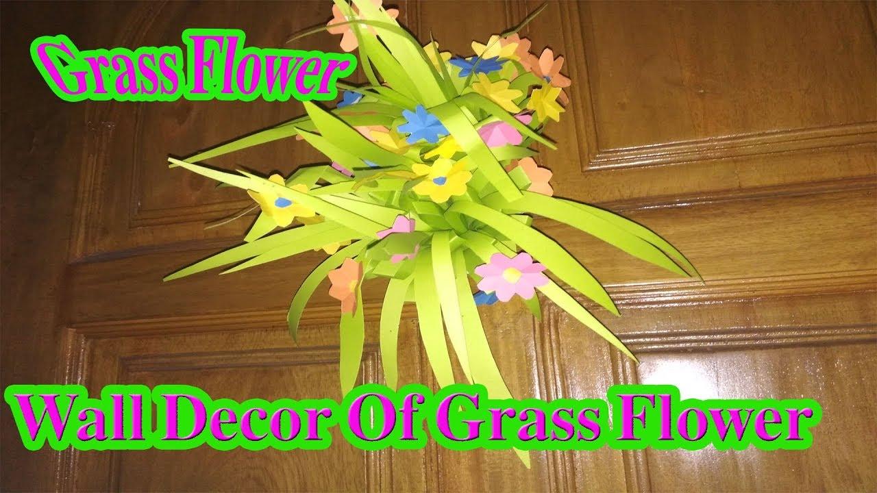 Grass Flower,How To Make Easy Wall Decor Grass Flower,Home Decor ...