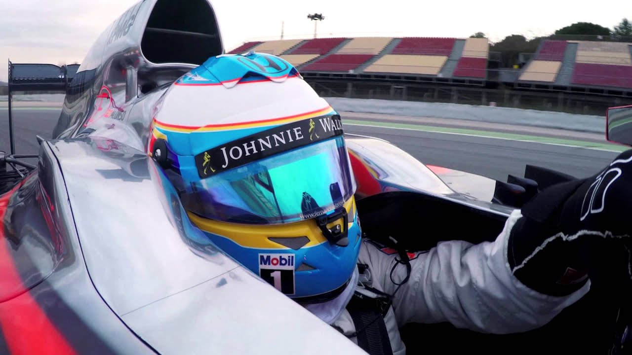 f1 2015 - mclaren honda - fernando alonso on track in barcelona with
