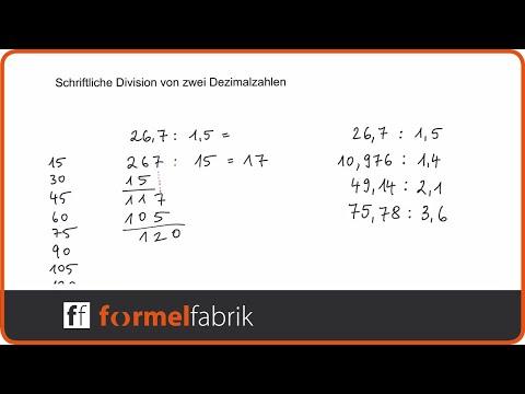 Schriftliche Division von Dezimalzahlen (Kommazahlen) – Beispielaufgaben mit Komma im Divisor