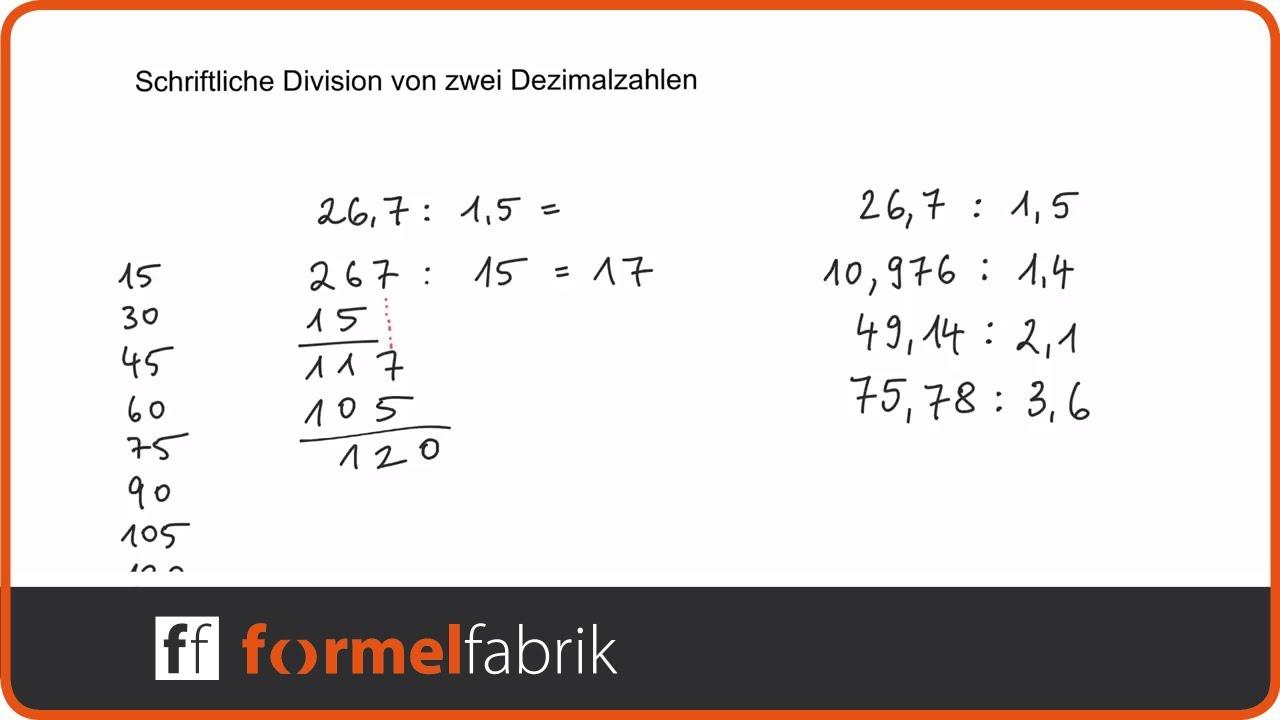 Schriftliche Division Von Dezimalzahlen Kommazahlen Beispielaufgaben Mit Komma Im Divisor