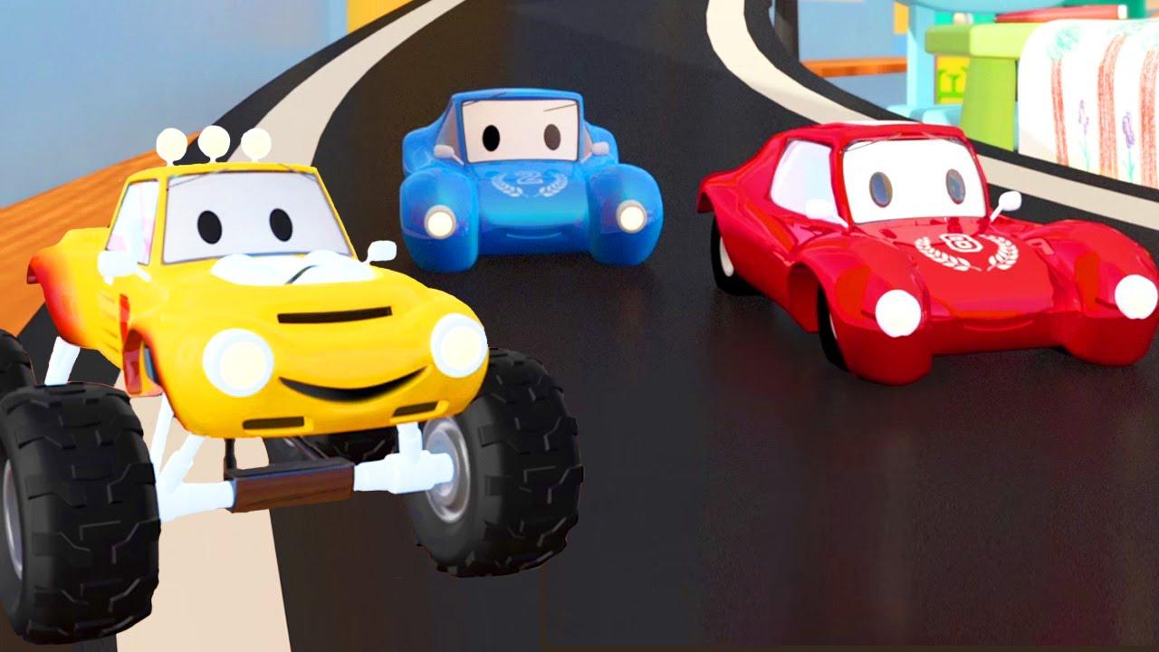 o carro de corrida e lucas o caminhão monstro desenho animado para