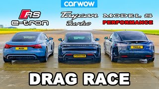Audi RS e-tron GT v Porsche Taycan v Tesla Model S: DRAG RACE