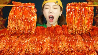 [Mukbang ASMR]🔥SPICY ENOKI MUSHROOMS(RECIPE)WITH FIRE SAUCE Ssoyoung