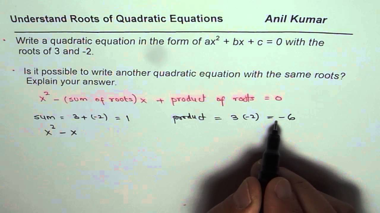 Write quadratic equation in standard form with roots at 3 and 2 write quadratic equation in standard form with roots at 3 and 2 falaconquin