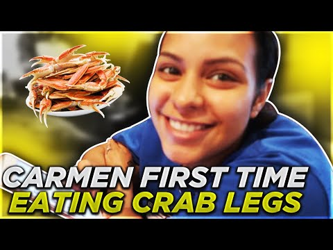 CARMEN FIRST TIME EATING CRAB LEGS!