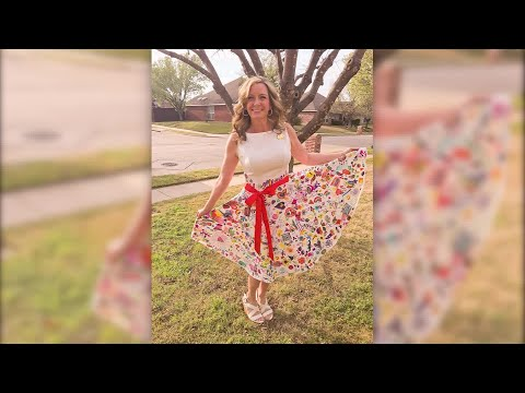Hilary - Teacher turns students' art into fashionable dress