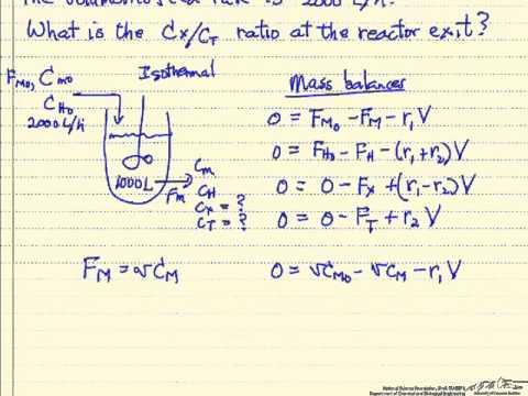 Multiple Reactions In A CSTR YouTube - Cstr reactor design