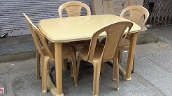 Fiber Plastic Dining Table 4 Seater in Popular Furnitures un boxing and fitting