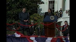 Cuts of Arrival Ceremony for Chancellor Kohl of West Germany on November 15, 1982