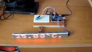 часы на светодиодной матрице max7219 и модулеях rtc ds1307 dht 11 arduino