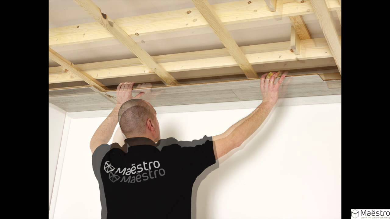 La pose d 39 un lambris maestro sur un plafond youtube for Pose de faux plafond pvc