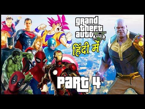 GTA 5 - Avengers: Infinity War - Part 4 - Superheros Vs Thanos | Hitesh KS