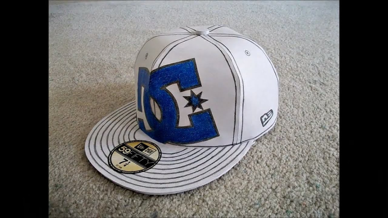 Papercraft Paper Model of a White DC New Era Hat