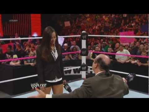 AJ Lee slaps Paul Heyman after he proposes to AJ Lee Raw, 24 Sept, 2012