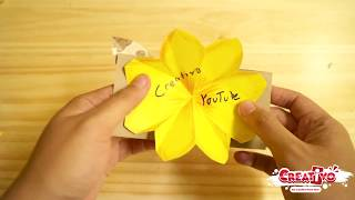 Cara membuat bunga pop up flower pop up card