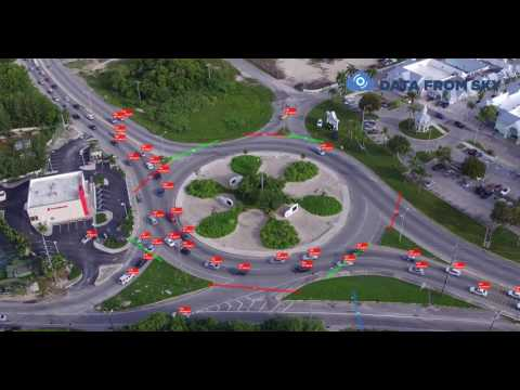 Vehicle speed tracking on drone traffic video from Cayman Islands