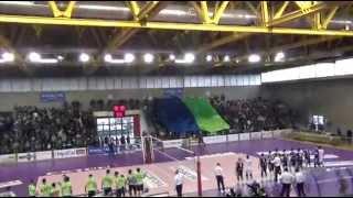 04-04-2015: L'ingresso in campo di Aversa e Chiusi finaliste di Coppa di B1M
