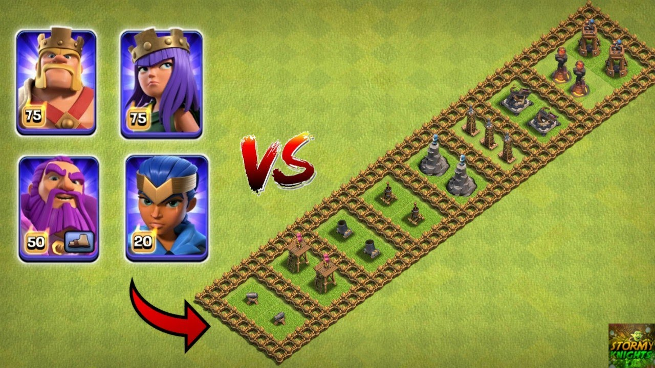 ALL MAX HEROS VS LEVEL ONE DEFENCE TROLL BASE CLASH OF CLANS || LEVEL 1 DEFENCE VS ALL MAX HEROS COC